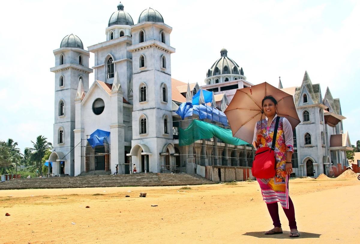 A church on the Sea Shore - The Madre De Deus Church, Vettukad, Thiruvananthapuram.